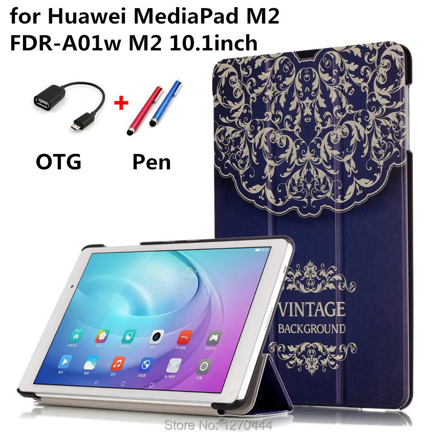 With Colored drawing MediaPad T2 10.0 Pro Leather Case Cover capa para for Huawei MediaPad M2 FDR-A01w M2 10.1 Tablet+Pen +OTG<br><br>Aliexpress