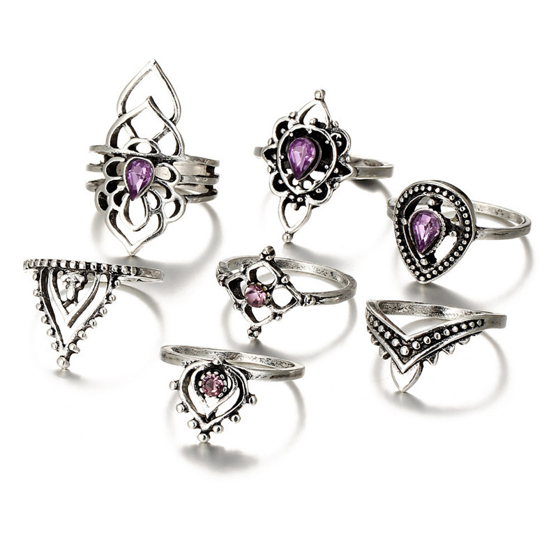 IF-ME-Bohemian-Lotus-Purple-Crystal-Ring-Sets-for-Women-Vintage-Retro-Silver-Color-Water-Drop