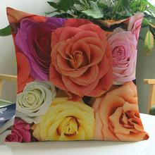 Manufacturers Selling Colorful Rose Pattern Decorative Soft Short Plush Throw Pillow Sofa Office Chair Backrest Cushion