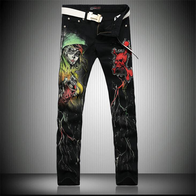2017 Cool Skinny Jeans For Guys Punk Style Skull 3D Printed Club Wear Hip Hop Black Mens Rock Singers Jeans HOT SALEОдежда и ак�е��уары<br><br><br>Aliexpress