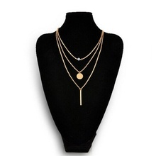 Hot Popular Nice Girl Women Jewelry Gift Chic Fashion Geometry Crystal 3 Layer Gold Sliver Color Pick Chain Charms Necklace 2017