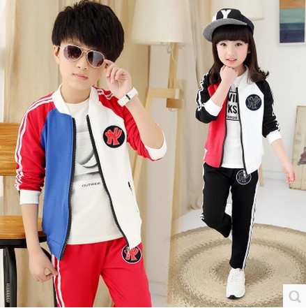 Retail childrens sports suit boys and girls 2-16 years old children big virgin suit uniforms Spring clothes Jacket + Trousers<br><br>Aliexpress