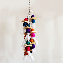Fashion Colorful Birds Parrot Chew Toys Wooden Swing Climbing the ladder 38cm Bird Cage Accessories(China)