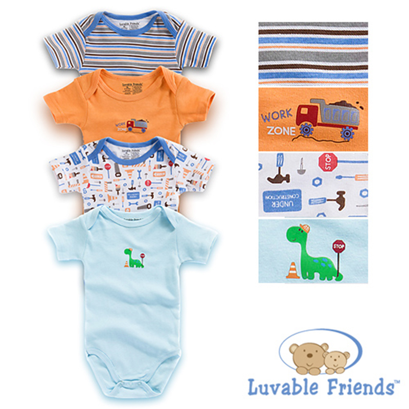 2017 Fashion 4 Pcslot Baby Boy Bodysuit Kids Baby Boy Short Sleeve Cartoon Pattern Bodysuit Infant Outfits