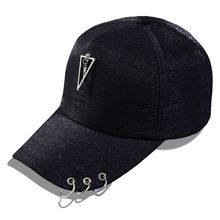 Metal Tag Hip-hop Style Baseball Cap Sequins Snapback Caps Pearl Accessories Iron Ring Hats For Girls Net Cap