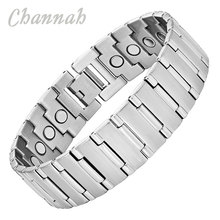 Channah 2017 Magnetic Bracelet for Men Wrist Silver Large Size Stainless Steel Bio Magnet Accessories Bangle Wristband Charm(China)