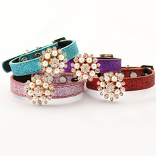 Armi store Flash Diamond Pearl Flower Dog Cat Collar 6041014 Pet Grooming Princess Collars(China)