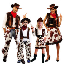 Fashion Boy Girl West Cowboy Cosplay Costume For Kids Adults Family Outfits Halloween Carnival Costumes Suits Party Decor(China)