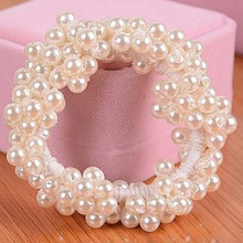 New arrive Fashion Women White Pearls Beads Hair Band Rope Scrunchie Ponytail Holder Elastic Hottest