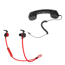 Retro 3.5mm Telephone Handset Receiver for Iphone + CCK KS Wireless Bluetooth Sport Stereo Earphone Headset For iPhone Samsung(China)
