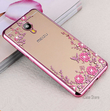 Soft TPU Flowers Diamond Lace Gilded Plating Secret Garden Case Cover For Meizu m2 note/m3 note/m5 note/m3 m3s/m5 m5s/U10 U20/E(China)