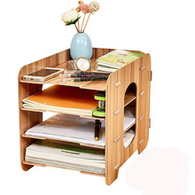 DINIWELL Office Desktop File Holder Creative Storage Box Wooden Multilayer Shelf Mobile Shelf Household Detachable Desktop Box