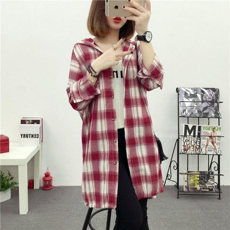 Brand Yan Qing Huan 2018 Spring Long Paragraph Large Size Plaid Shirt Fashion New Women's Casual Loose Long-sleeved Blouse Shirt 24 Online shopping Bangladesh