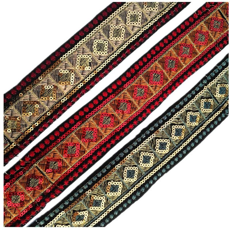 1m 25mm Black jacquard embroidered ribbon lace applique trimming decor