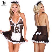 2017 New sexy lingerie hot white+black lace perspective SM cosplay maid uniform lenceria sexy chemise backless erotic lingerie