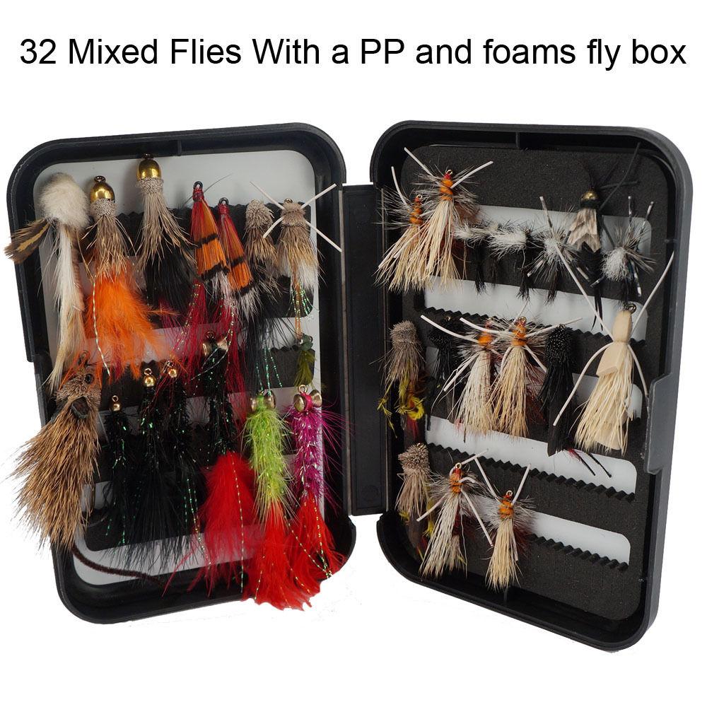 32 Summer Trout Wet Fishing Flies Dry Flies Great Varieties Mixed hook Size New<br><br>Aliexpress