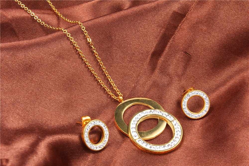 XUANHUA Stainless Steel Jewelry Sets For Women Fashion Jewelry Accessories Set Jewellery Necklace Set Dubai Bridal Set Jewelry