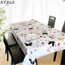 XYZLS butterfly PVC tablecloth pastoral non wash waterproof oilproof table cloth square and round coffee tablecloths  plastic