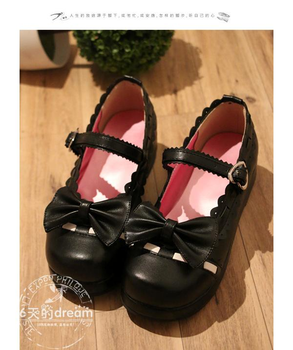 Snap Button Ankle Buckle Women Bow Shoes New 2017 Ladies High Heel Lolita Pumps Chunky Heel Cosplay Shoes Free Shipping<br>