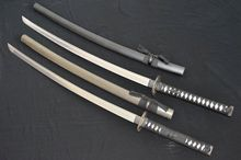 2PC HandMade Japanese Sword Samurai Katana Groove Sharped 1060 Damascus Steel Blade 16829