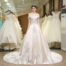 SL-83 Designer Wedding Gowns Satin Embroidered Hollow Out Lace Pearls Bling Bridal Gowns Modest Corset Wedding Dress 2017