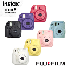 Original Fuji Mini 8 Camera Fujifilm Instax Mini 8 Instant Film Photo Camera New 7 Colors White Pink Yellow Blue Black Grape Red