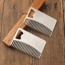 2017 High Quality Professional Men's mustache comb Anti Static Stainless Steel Comb Can Be Use As A Bottle Opener