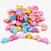 25pcs Wooden Beads 24x18mm Car Shape Spacer Wood Beads for Jewellry Making Baby DIY Crafts Kids Toys Pacifier Clip Necklace