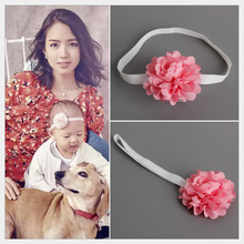 Celebrity kids girl Red Flower Headband Toddlers Cute Elastic Headwear HB022(China)