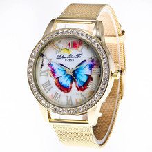 Fashion Butterfly Bracelet Women Rhinestone Crystal Watches Women/Men Unisex Quartz Watch Stainless Steel Wrist Watches Relogio(China)