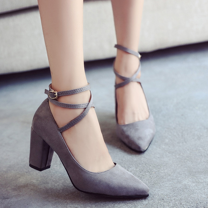 2017 Spring And Autumn Pumps Women Sexy Office High Heel 7 cm Cross Straps Square Heel Pumps Fashion Pointed Toe Shoes 92125 <br><br>Aliexpress
