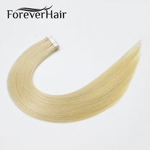 "FOREVER HAIR 2.0g/pc 18"" Remy Tape In Human Hair Extension Light Blonde #613 Russian European Hair Tape Skin Weft Hair Extension(China)"
