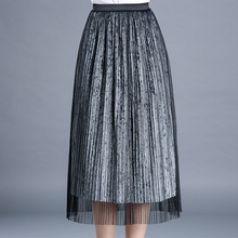 New Long Lace Skirts Women Mid Calf Length Fashion Stylish Solid Color High Waisted Pleated Skirts Grey Black Party Skirt(China)