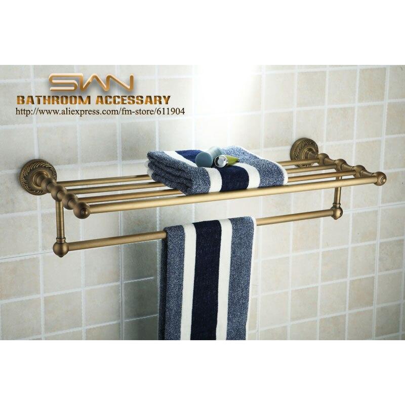 Antique Brass Bathroom Bath Towel Rack Shelf With Tewel Bar 3611601<br><br>Aliexpress