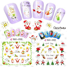 1sheet Christmas Style Water Transfer Nail Sticker Watermark Decals DIY Tips Decoration For Beauty Nail Wrap Tool BEBLE2325-2335