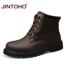 JINTOHO Big Size Fashion Winter Men Work&Safety Shoes Genuine Leather Boots Shoes Winter Leather Male Boots Work&Safety Boots
