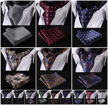 Party Classic Pocket Square Wedding Floral &Paisley & Plaid& Polka Dot Men Silk Cravat Ascot Tie Handkerchief Set #B2(China)