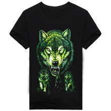 2017 New Funny Men Shirts Cotton T-shirts Black Wolf Casual 3D Print T Shirt O-neck Popular Famous Brand Animal Fashion A233