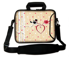 "Neoprene Computer Handle Carring Sling Bag10""13""14""15""17'' Loving Birds Pattern Laptop Sleeve Shoulder Cover Pouch For Intel"