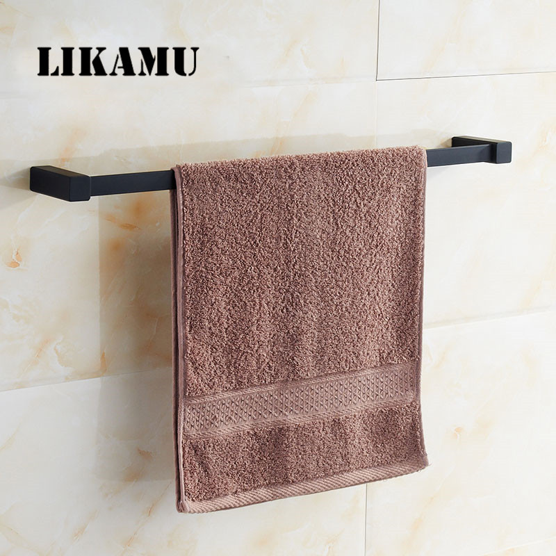 New arrival Bathroom Square Single Towel Bar 22 Stainless Steel Black Spray Painting Towel Rack Set Holder Shelf Wall Mounted<br>