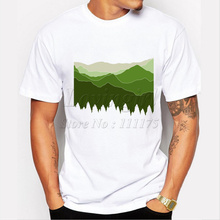 Latest men's fashion creative t-shirt mountain printing tee shirts Hipster O-neck short sleeve casual popular tops