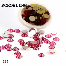 ss3 1440pcs/pack Flat Back Best Crystal Fuchsia( 3d Nail Art decorations ) Non Hot Fix Glue on rhinestones for nails diy