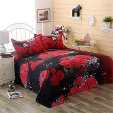 3Pcs/Set Romantic 3D Rose Pattern Printing Bed Sheet Pillow Cover Bedding Set