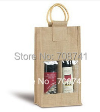 T065,Free Shipping,100pcs/lot,20x10x35cm,Wholesale Jute Wine Bottle Bag with PVC window Cane Handle,Custom design accept(China)