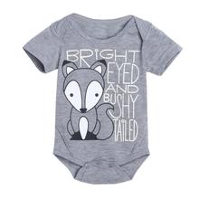 Newborn Infant Baby Boys Girls Fox Letter Print Romper Jumpsuit Outfits Clothes Dropshipping Free Shipping XL50(China)