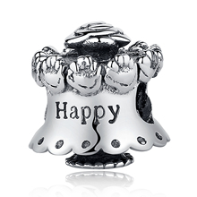 Authentic 925 Sterling Silver Bead Charm Vintage Rose Cake With Happy Birthday Beads Fit Original Pandora Bracelet DIY Jewelry