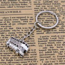 Fashion European England UK Feature Antique Silver Symbols of London Double-decker Bus Pendant Key Ring Keychain Unique Jewelry