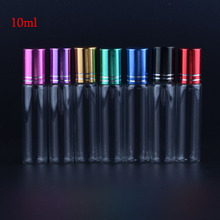 MUB Free Shipping 100pieces/lot 10 ml Portable Refillable Perfume Bottle&Glass Oil Empty Bottle with 6Colors