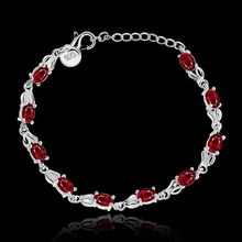 Bracelet Silver Plated Bracelet Silver Red Zircon Bracelet Women's Trendy Jewelry Wholesale Free Shipping ghty LH350