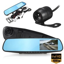 4 Inch Car DVR Camera Review Mirror FHD 1080P Video Recorder Night Vision Dash Cam Parking Monitor Auto Registrar Dual Lens DVR(China)
